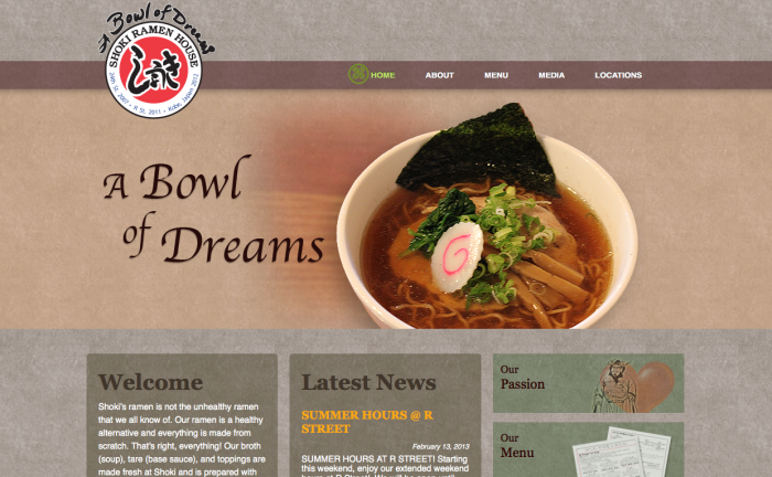Shoki Ramen House Website